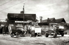 Vintage Old  Dome Gas Service Station 1920s Ford Model T & Truck photo print - $8.90