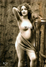 French Model Old Vintage Antique Nude Sultry Lass Early 1900s Photo Repr... - $8.90