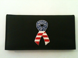 USA Ribbon Black Leather Checkbook Cover Free Shipping American Flag - $18.00