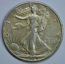 1939 P Walking liberty circulated silver half dollar AU details - $29.50