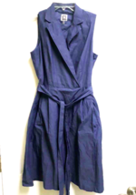 Anne Klein Chambray Denim Faux Wrap Dress Sleeveless Women's Size 4 Wais... - $8.90