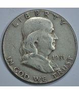 1951 P Franklin circulated silver half dollar - $13.50