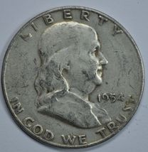 1954 S Franklin circulated silver half dollar - $13.75