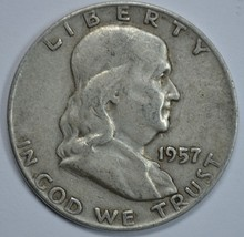 1957 D Franklin circulated silver half dollar - $13.50