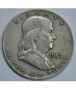1957 D Franklin circulated silver half dollar - $13.50