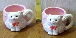 Ceramic Pair of Cat Cups Very Cute Look!  - $9.00