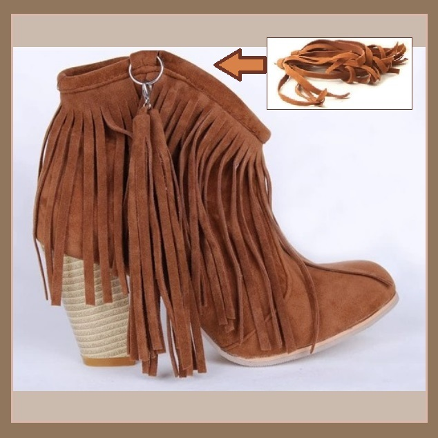 Western Style Martin Heel Suede Leather Fringed with Tassel 2.5 inch Ankle Boot