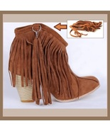 Western Style Martin Heel Suede Leather Fringed with Tassel 2.5 inch Ank... - $89.95