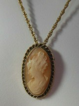 Vintage Signed EMMONS Cameo Brooch Pendant Necklace - $65.00