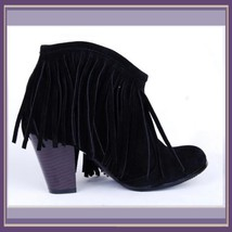Western Style Martin Heel Suede Leather Fringed with Tassel 2.5 inch Ankle Boot image 2