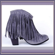 Western Style Martin Heel Suede Leather Fringed with Tassel 2.5 inch Ankle Boot image 3