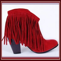 Western Style Martin Heel Suede Leather Fringed with Tassel 2.5 inch Ankle Boot image 5