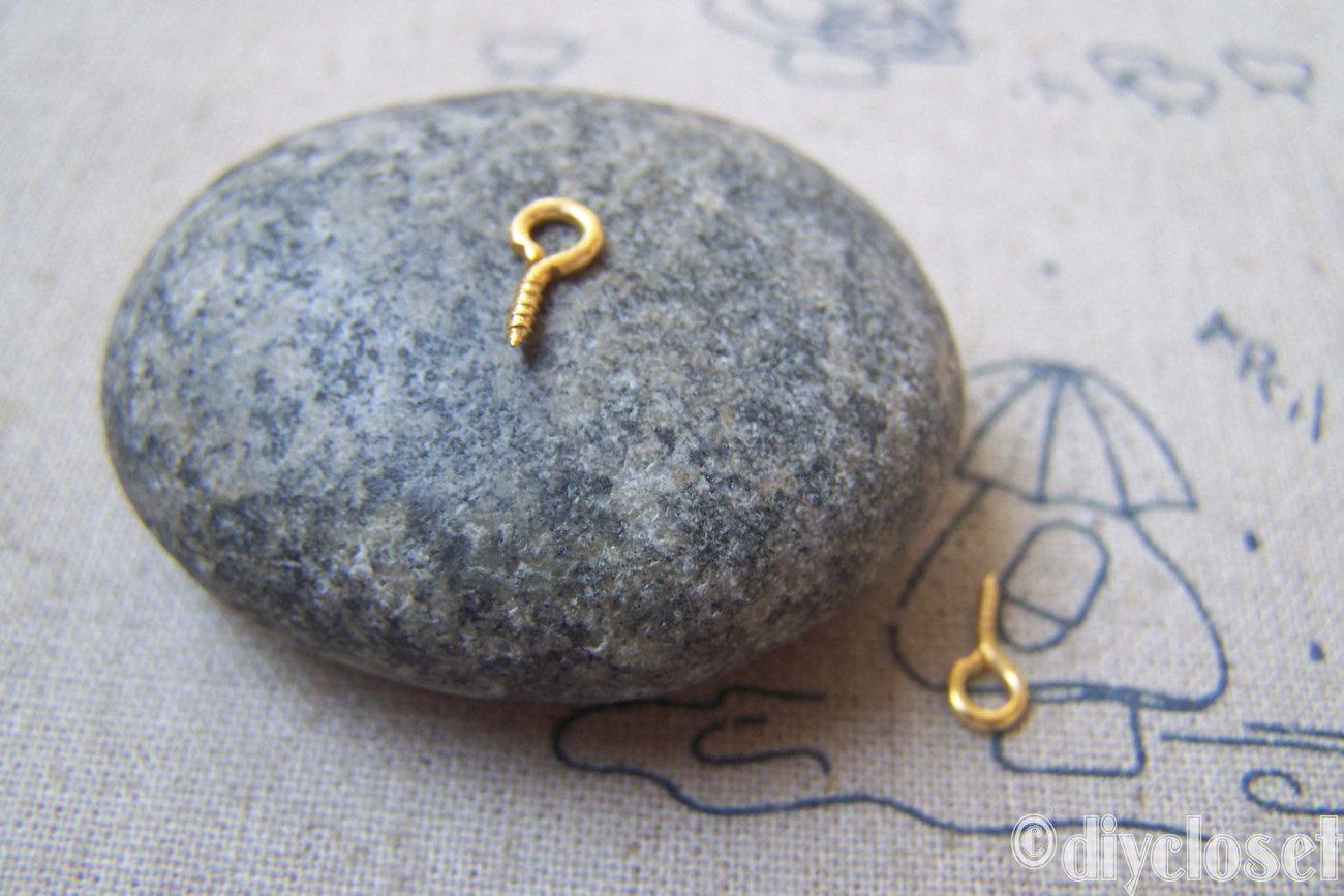 500 pcs of Gold Tone Mini Screw Eye Pins 4x8mm -------- 19 gauge A4823