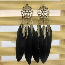 Women Earrings Feather Long Design Dream Catcher - $19.05 CAD+