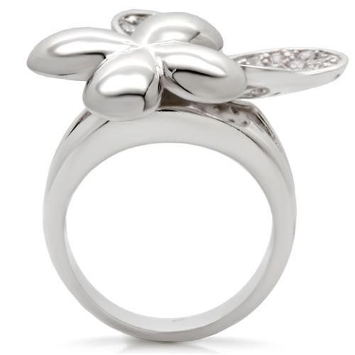 WOMEN'S SILVER TONE TWO FLOWER CUBIC ZIRCONIA COCKTAIL FASHION RING SIZE 6, 7