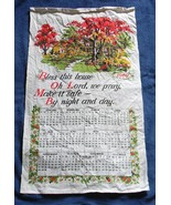 VINTAGE 1969 LINEN CALENDAR KITCHEN TOWEL BLESS THIS HOUSE OH LORD WE PRAY - $14.80