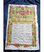 VINTAGE 1968 LINEN CALENDAR KITCHEN TOWEL THE TRUMBAUERS ETHHNIC DRESS - $14.80