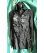 Desigual Black ladies shirt with Embroidered Detail and Ruching - Size 4... - $47.49