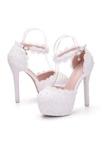 Graceful PU Round Toe Ultra-High Heel Wedding Shoes With Pearls  - $58.79