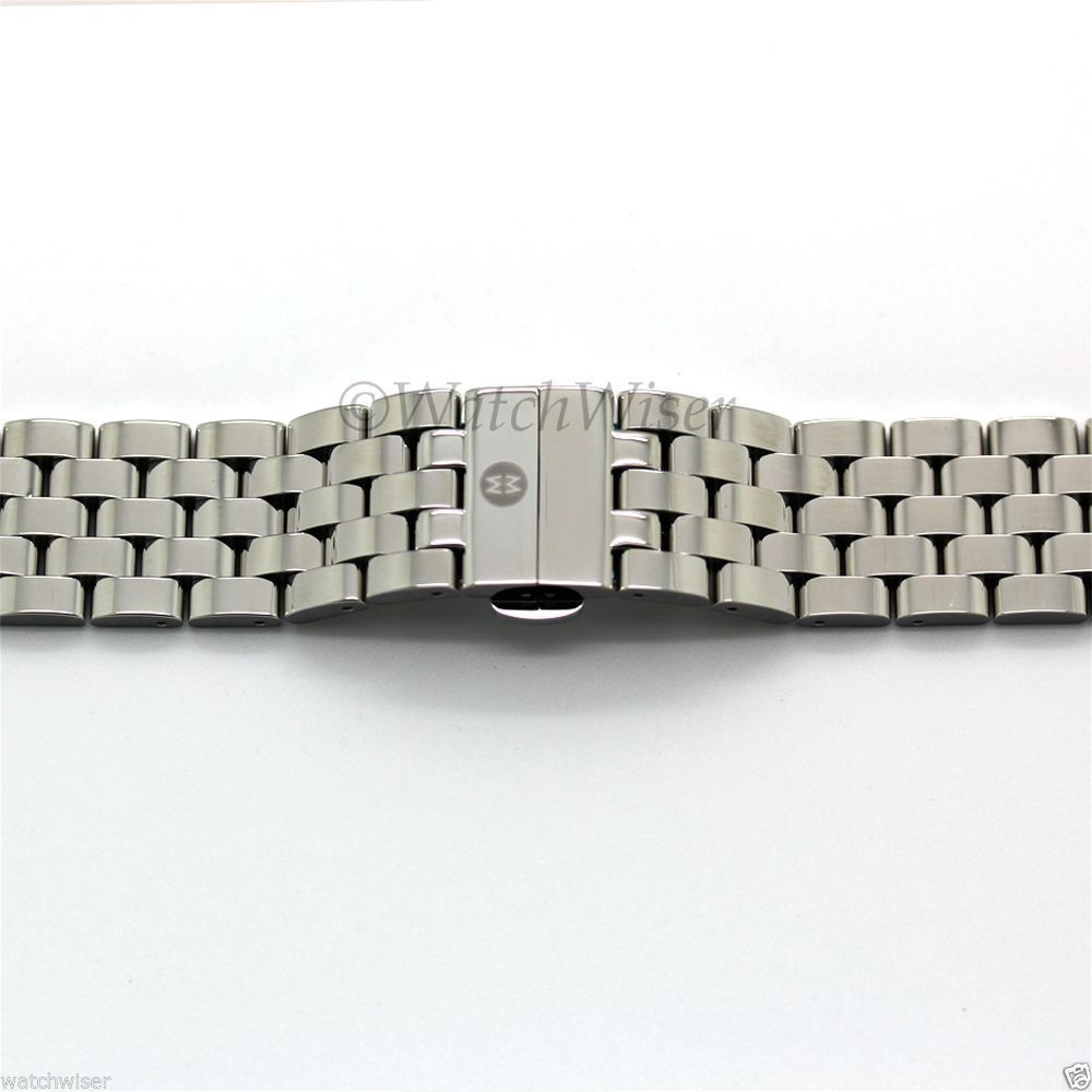 Primary image for MS20CY235009 Michele Sport Sail Large 5-Link Silver Steel Bracelet 20mm $300
