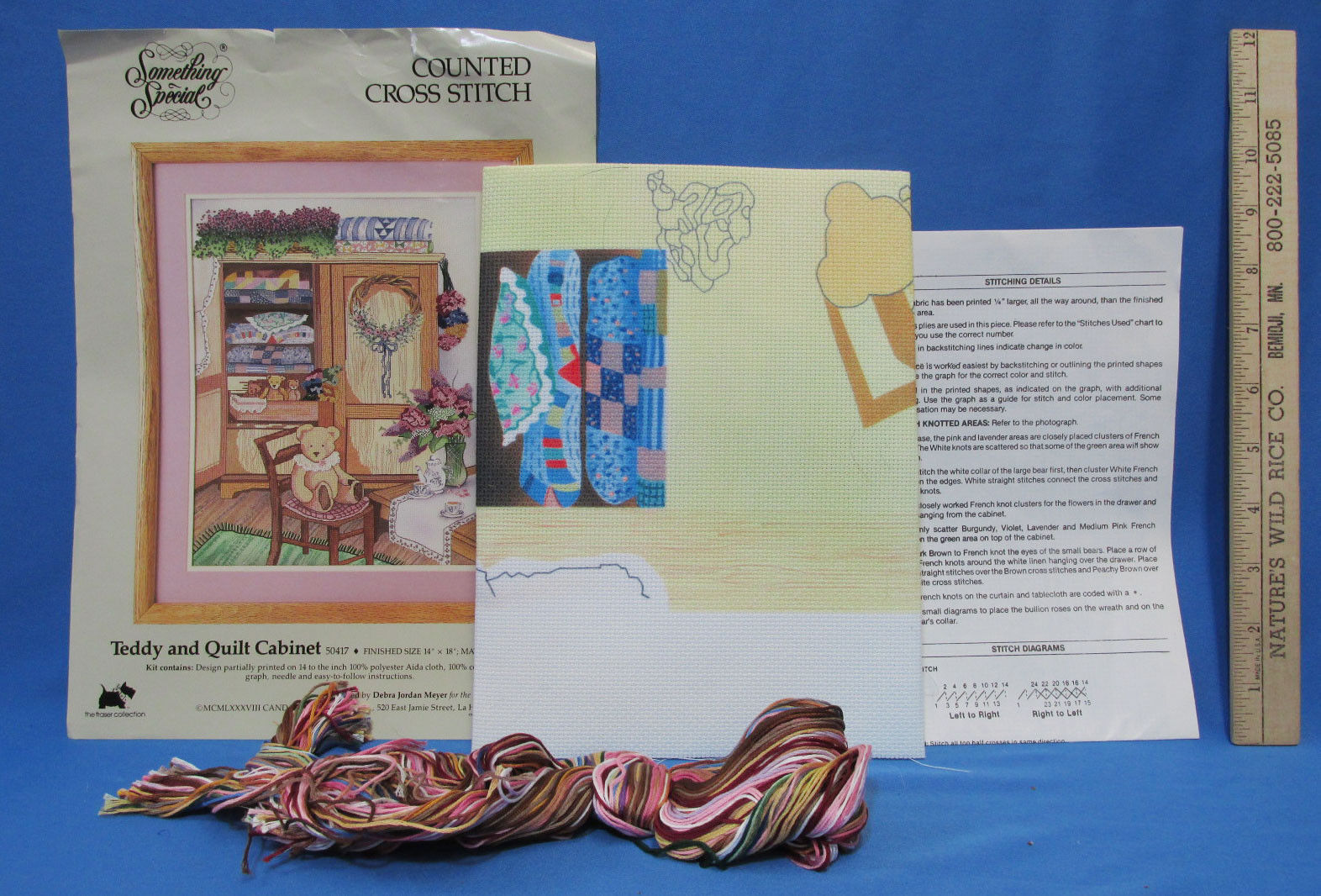 Counted Cross Stitch Embroidery Kit Something Special Teddy & Quilt Embroider - $10.88