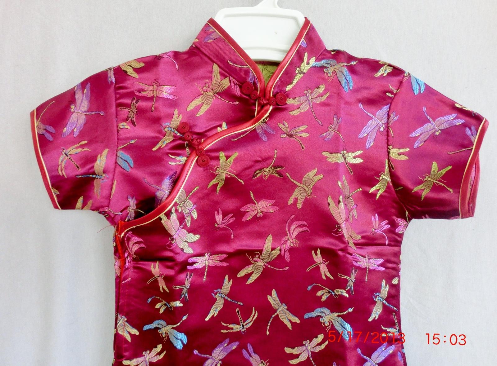 Chinese silk satin rose pink gold color dragonflies girls cheong-sam-dress sz 12