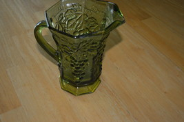 Vintage anchor hocking green glass pitcher with... - $17.00