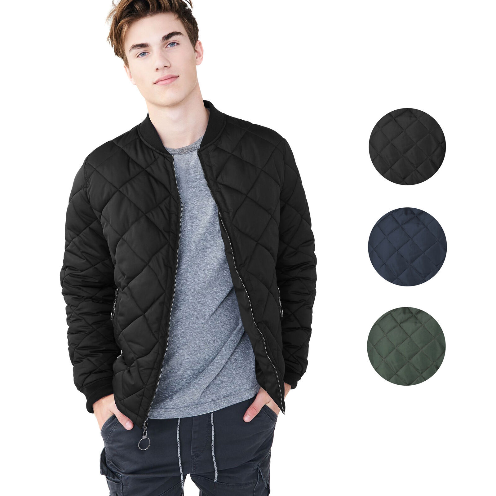 Men's Lightweight Ring Zipper Quilted Water Resistant Slim Bomber Jacket JASON