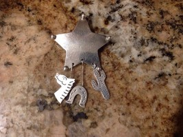 Vintage Mexican Sterling Silver Star Brooch , Hanging Horse , Horseshoe ... - $29.69