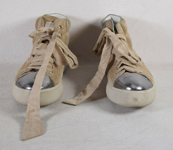 Prada High Top Womens Suede Beige Lace Up Sneakers 36 - $198.00