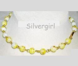 Vintage Yellow White Brown Glass Beaded Link Choker - $10.99