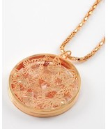 Goldtone and Clear Acrylic Butterfly Cutwork Filagree Disk Necklace and ... - $16.20