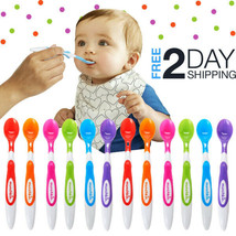 Baby Soft Tip Spoons 12Pcs Infant Rounded Bowls Easy Grip BPA-Free Toddl... - $10.88