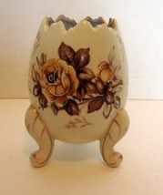 Vintage Ceramic Footed Egg Figurine with Flowers - National Potteries, Napcowar - $5.99