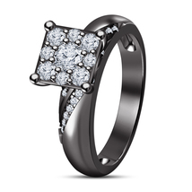 Round Cut Diamond Engagement Wedding Ring Black Gold Plated 925 Sterling Silver - $78.99