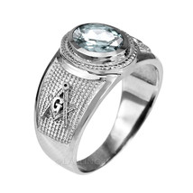 Sterling Silver Masonic Band April Birthstone Clear CZ Freemason Ring - $49.99