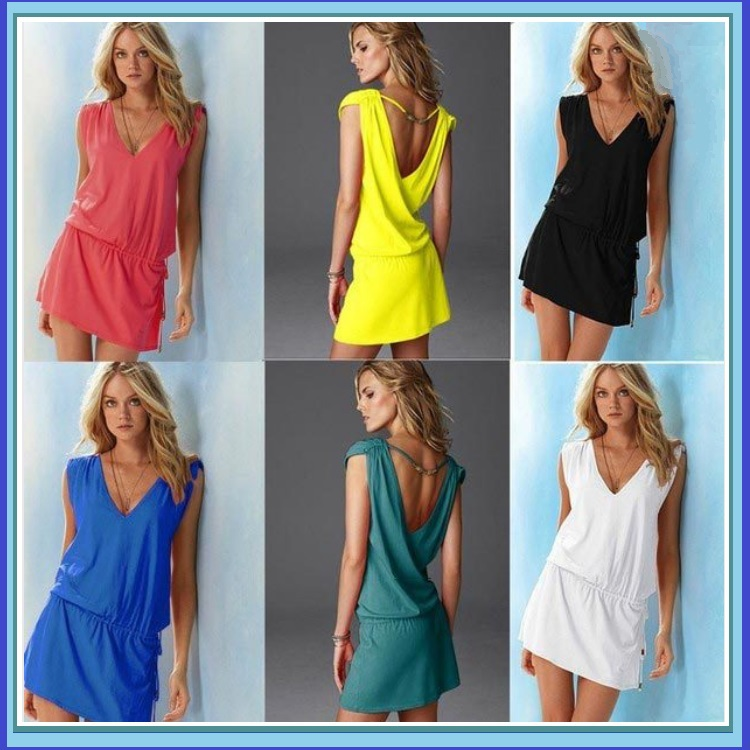 Casual Summer Beach Wear Swimsuit Cover Up Beach Tunic with Waist Drawstring