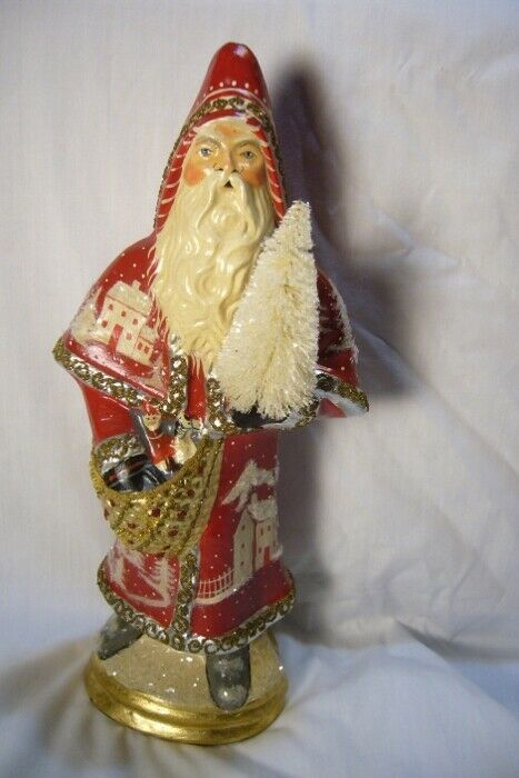 VAILLANCOURT FOLK ART RED FATHER CHRISTMAS VILLAGE  personally signed by Judi!