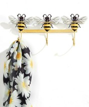 "Triple Hook Bumble Bee Design Yellow & Black Wall Hooks -  11.4"" Long Metal"