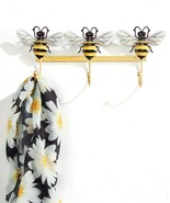 "Triple Hook Bumble Bee Design Yellow & Black Wall Hooks -  11.4"" Long Metal - $24.74"