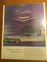 "1960 Cadillac sedan white car vintage print ad 10.75""x14"" - $5.65"