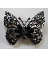 Butterfly Brooch Black Rhinestones Gray Catseye Liz Claibour - $7.95