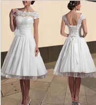 Newly Plus Size Lace Wedding Dresses Scoop Short Bridal Gowns Floral Cap... - $85.00