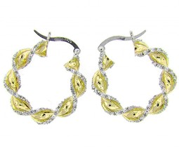 Twisted Pave Cubic Zirconia CZ Out Lined Yellow Sterling Silver Hoop Earrings - $69.29