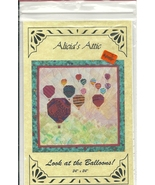 Pieced Quilt Pattern Hot Air Balloons Wallhanging 24 x 24 Foundation Pie... - $4.93