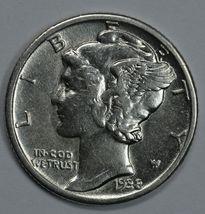1938 Mercury silver dime XF-AU details - $16.00