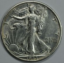 1943 S Walking Liberty silver half dollar AU details - $26.00