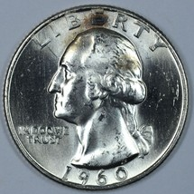 1960 D Washington uncirculated silver quarter with toning - $12.25