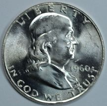 1960 P Franklin uncirculated silver half dollar - $19.00