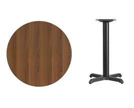 Offex 30'' Round Walnut Laminate Table Top with 22'' x 22'' Table Height Base - $133.20